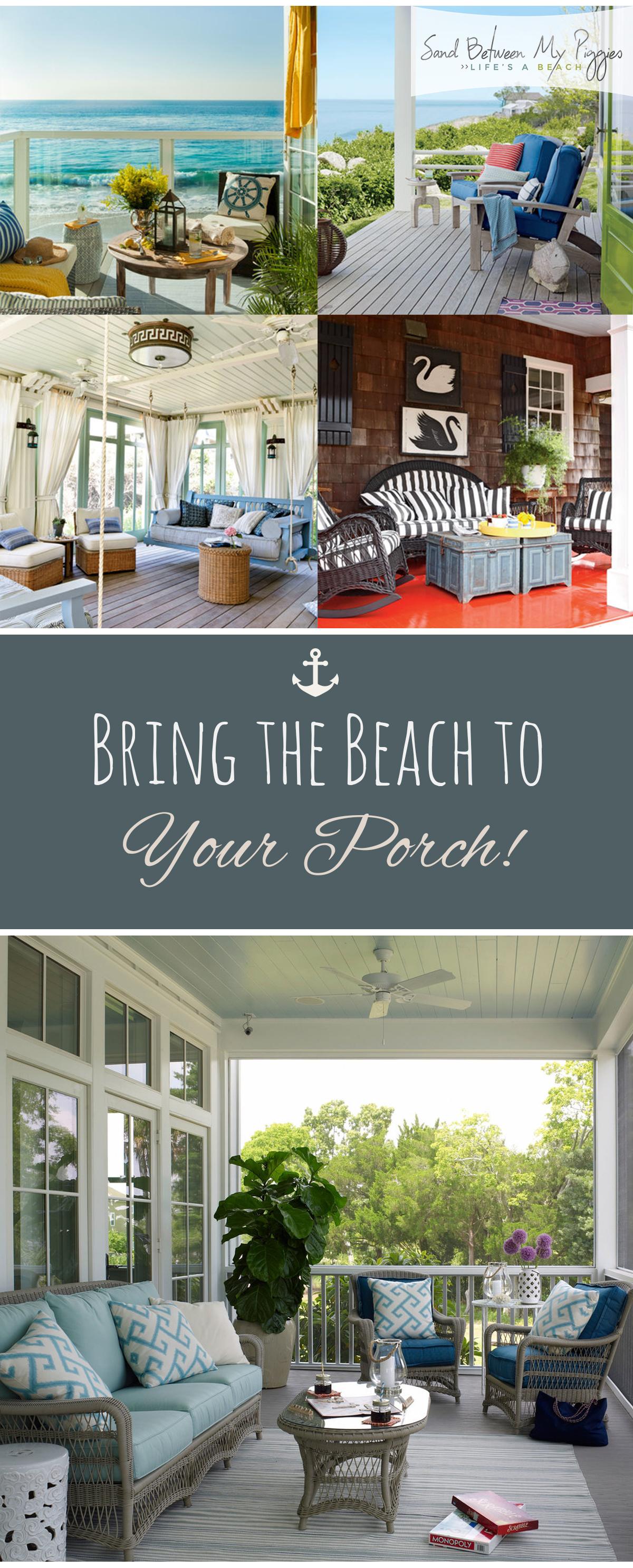 Bring the Beach to Your Porch! Porch Decor, Beach Themed Porch Decor, DIY Porch, How to Decorate Your Porch, Decorating Your Porch, DIY Home, Coastal Home, Coastal Home Decor, Coastal Porch Decor