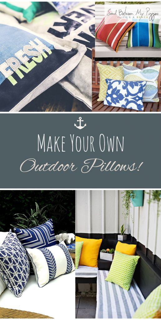 Make Your Own Outdoor Pillows! Outdoor Pillow Projects, No Sew Pillow Projects, Pillow Projects, Make Your Own Pillows, How to Make Your Own Pillows, Patio Pillow Projects, DIY Crafts, Outdoor Crafts, Popular Pin