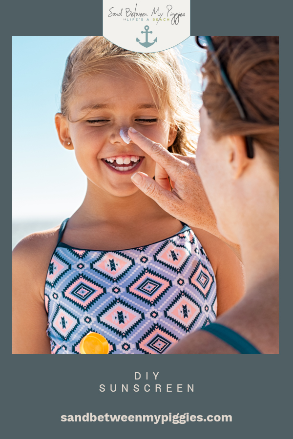 Make your own DIY homemade sunscreen with this easy recipe you can make in less than an hour. All-natural skin care has never been so easy. #homemade #products #sandbetweenmypiggiesblog