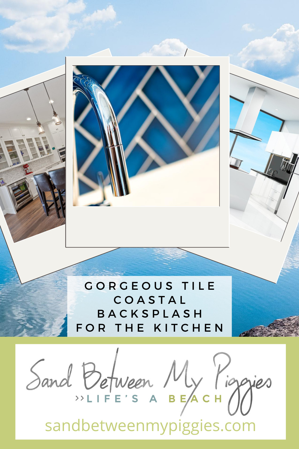 Beach kitchens are all the rage this season! Use these coastal backsplash ideas to complete your coastal kitchen. #coastal #home #sandbetweenmypiggiesblog