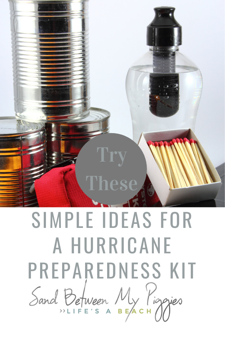 Hurricanes can be deadly. Most likely you will be left without power, drinking water, and other conveniences you take for granted. Perhaps you will even be forced to evacuate. Sand Between My Piggies wants to help you be ready with this hurricane preparedness kit. Lots of tips and ideas of what to have ready when an emergency arises. #hurricane #Preparednesskits #DIYpreparednesskits #sandbetweenmypiggiesblog