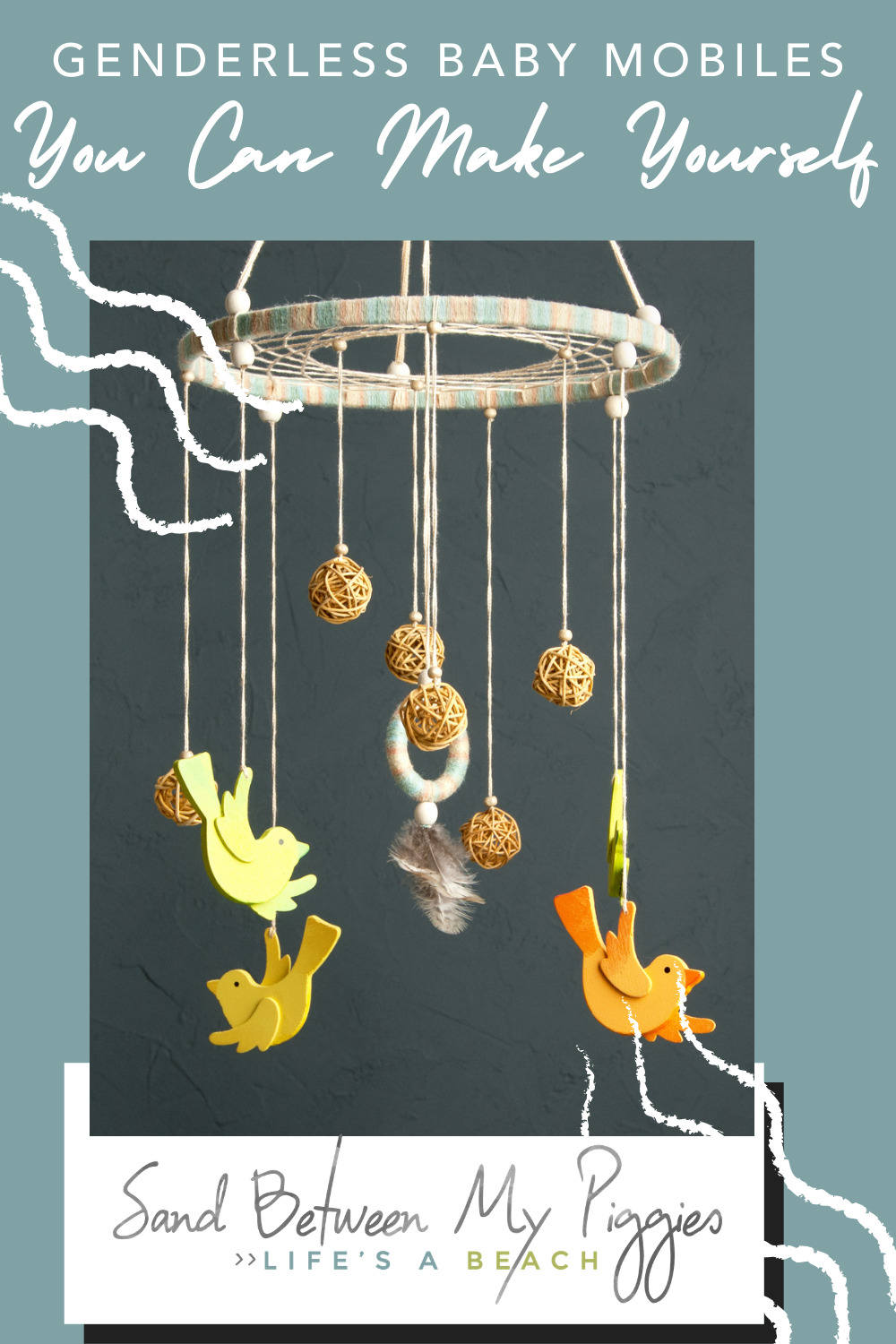 Sandbetweenmypiggies.com is all about being laid back. Carry that lifestyle over to your kids with calming baby mobiles. These amazing mobiles can not only be made at home, but are completely gender neutral!