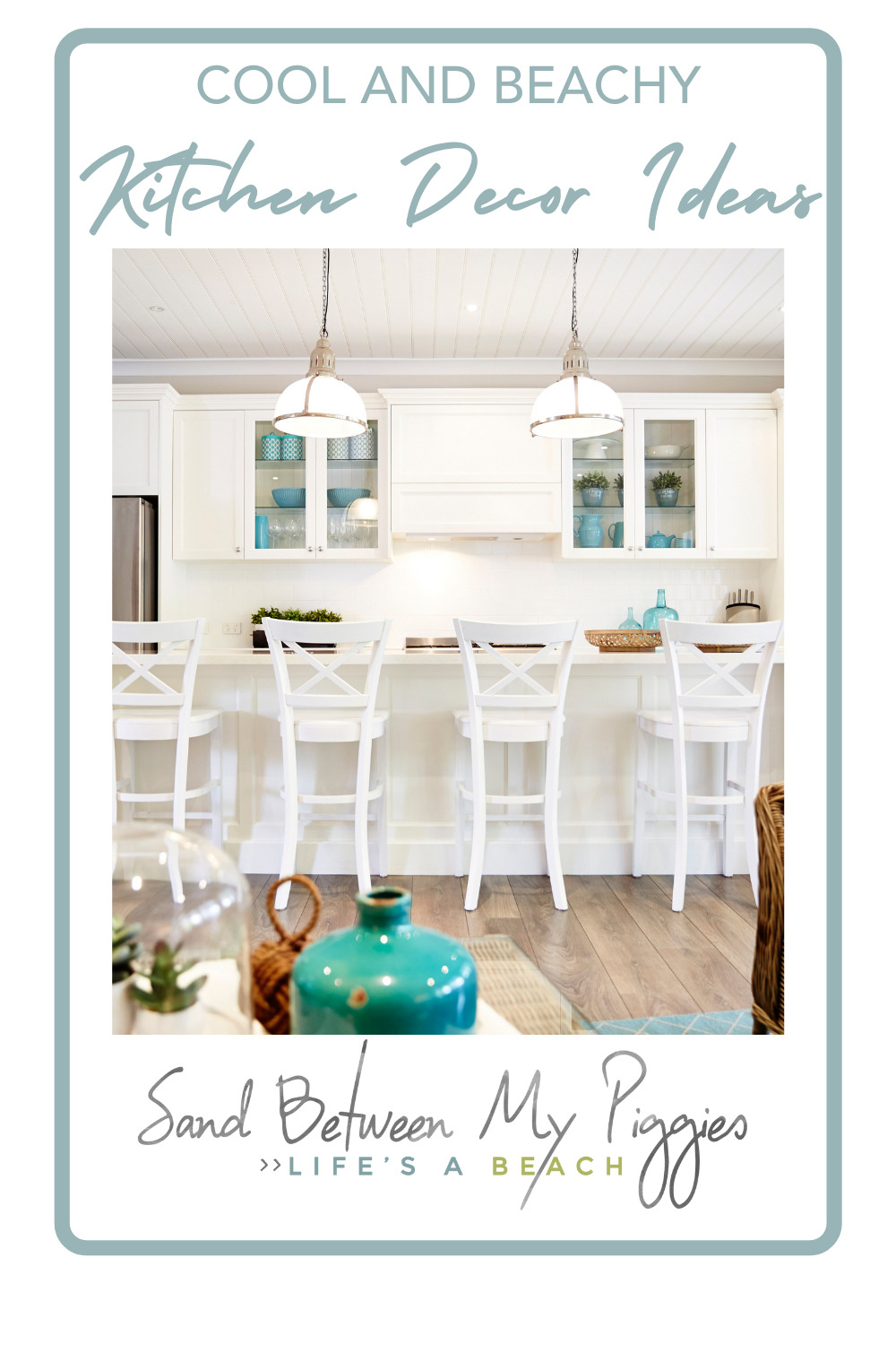 Sandbetweenmypiggies.com is all about the good life. Take a deep breath with travel and beach inspired ideas. Turn your home into an oasis. Try out these ideas for a beachy kitchen overhaul.